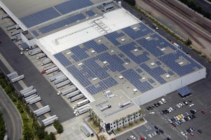 Centrale solaire en surimposition de toiture dans un centre de logistique