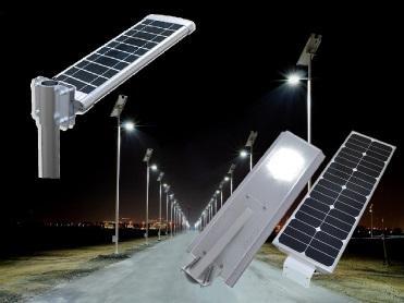 Rangée de lampadaires solaires tout en un